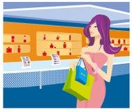 flickan shoppar Royaltyfri Foto