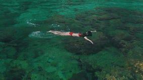Flickan simmar med en maskering i havet arkivfilmer