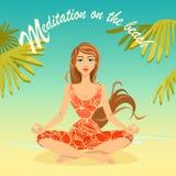 Flickan sitter i en lotusblomma poserar på stranden Arkivbilder