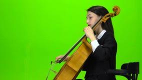 Flickan sitter och spelar violoncellen grön skärm Slapp fokus stock video