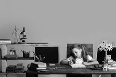 Flickan sitter på skrivbordet med böcker, blommor, frukt och svart tavla royaltyfria bilder