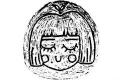 flickan skissar royaltyfri illustrationer