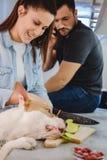 Flickan skrattar, medan hunden stjäler äpplet royaltyfri bild