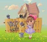 Flickan skriver på staketet Arkivbild