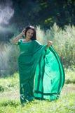 Flickan som är iklädd en sari av indisk kultur arkivfoto