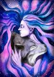 Flickan som kramar vargen Arkivfoto