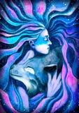 Flickan som kramar vargen Arkivbilder