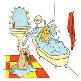 Flickan som ligger i badet under rinnande vatten, hunden, rymmer i hans tandhäftklammermatare också vektor för coreldrawillustrat Arkivfoto