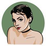 Flickan som ser in i ögonen royaltyfri illustrationer