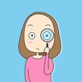 Flickan som ser till och med ett förstoringsglas Stock Illustrationer