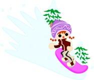 Flickan som snowboards Arkivfoto