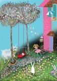 Flickan som spelar jumprope i en härlig blomma, fyllde trädgården Arkivfoto