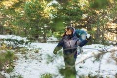 Flickan som spelar kasta snö, klumpa ihop sig i backen i en kall winte Royaltyfri Bild