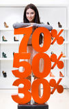 Flickan som visar procentsatsen av försäljningar på höjdpunkt, heeled skor arkivfoton