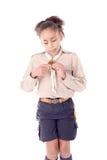 flickan spanar arkivfoton