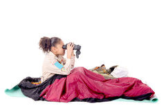 flickan spanar royaltyfri foto