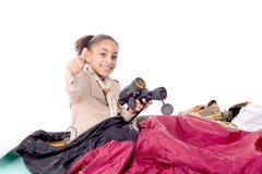 flickan spanar royaltyfria foton