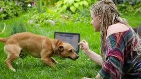 Flickan spelar med en katt och en hund Skydd för husdjur HD arkivfilmer