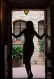 Flickan står i dörröppningen Arkivfoton