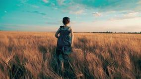 Flickan stöter ihop med fältet med vete arkivfilmer