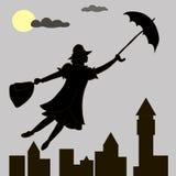 Flickan svävar under månen med ett paraply i hans hand Arkivfoton
