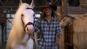 Flickan tar hästen ut ur stallen Stående Flickan ler på kameran lager videofilmer