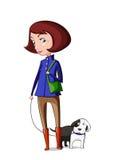 Flickan tar hunden för en gå Royaltyfria Bilder