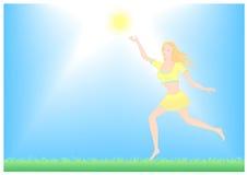 Flickan tycker om solen Arkivfoto