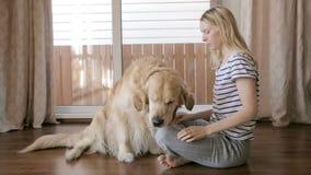 Flickan undervisar en hund som att ge sig tafsar stock video
