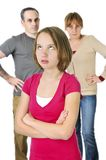 flickan uppfostrar tonårs- problem Arkivbild
