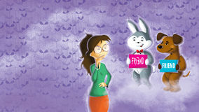 Flickan väljer verkliga vänner Vektor Illustrationer