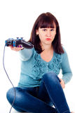 Flickan vägrar till videospel Royaltyfri Fotografi