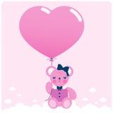 Flickanallebjörn och ballong Arkivbild