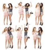 Flickanatt ut två vänner som dansar och tycker om Arkivbild