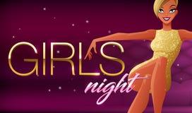 Flickanattbaner Härligt glamoröst sammanträde för ung kvinna i nattklubbvardagsrum Vektorillustration på mörk bakgrund Arkivfoton