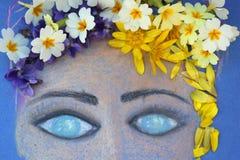 Flickans framsida målade med pastell royaltyfri illustrationer