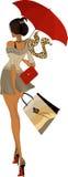 flickaparaply royaltyfri illustrationer
