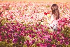Flickaplockning blommar i ett fält Royaltyfri Foto