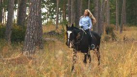 Flickaridning på en brun häst till och med träna arkivfilmer