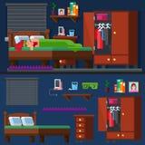 Flickasömn i sängkvinnarummet _ Royaltyfria Bilder