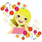 Flickas framsida med blommor Arkivfoto