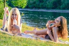 Flickas picknick Arkivbilder
