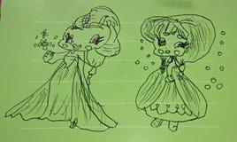 Flickas teckning fotografering för bildbyråer