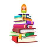 Flickasammanträde på en hög av stor böcker och läsning stock illustrationer