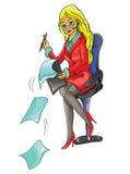 Flickasammanträde på en stol som arbetar Arkivbild