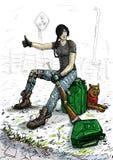 Flickasammanträde på kanistern med bränsle stock illustrationer