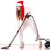 FlickaSanta Claus hatt med dammsugare Royaltyfria Bilder