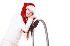 FlickaSanta Claus hatt med dammsugare Fotografering för Bildbyråer