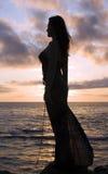flickasilhouette Royaltyfri Foto