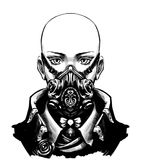 Flickaskinhead i skyddande maskering stock illustrationer